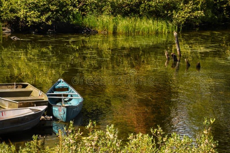 湖岸小船 库存图片