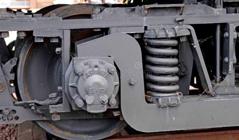 从湖岸电铁路的列车车箱 免版税库存照片