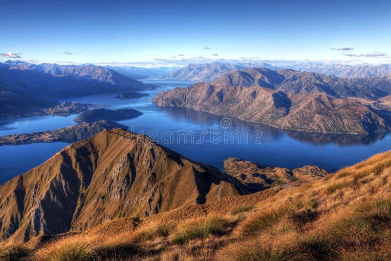 湖新的全景wanaka西兰 免版税图库摄影