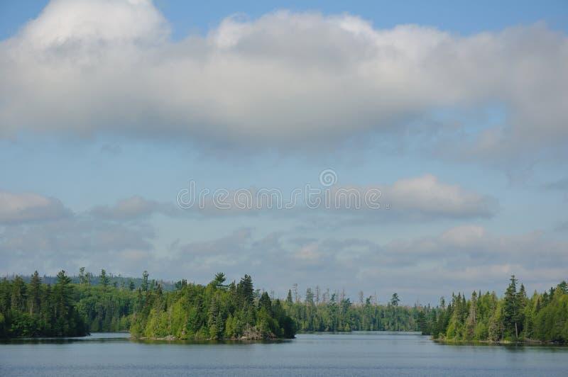 湖早晨遥控原野 库存图片