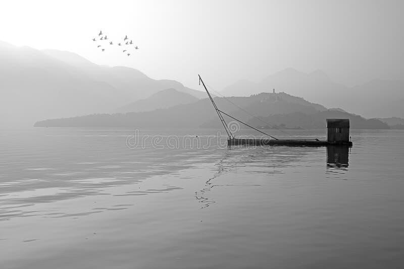 湖月亮南投星期日台湾 图库摄影