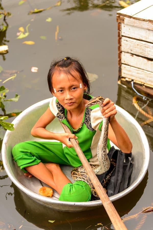 湖洞里萨湖,柬埔寨 免版税库存照片