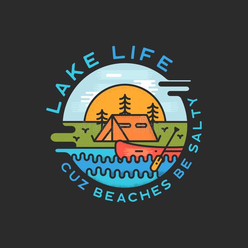 湖生活商标设计 现代液体动态样式 旅行冒险与行情的徽章补丁- Cuz海滩是咸的 库存例证