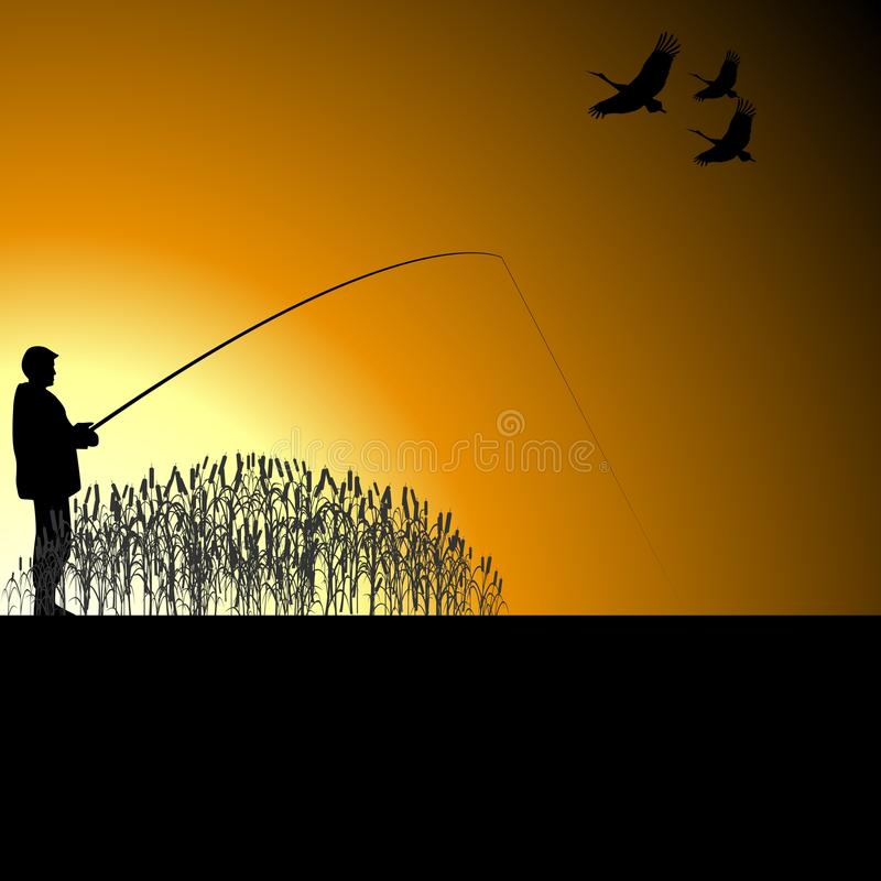 湖的一位渔夫 向量例证