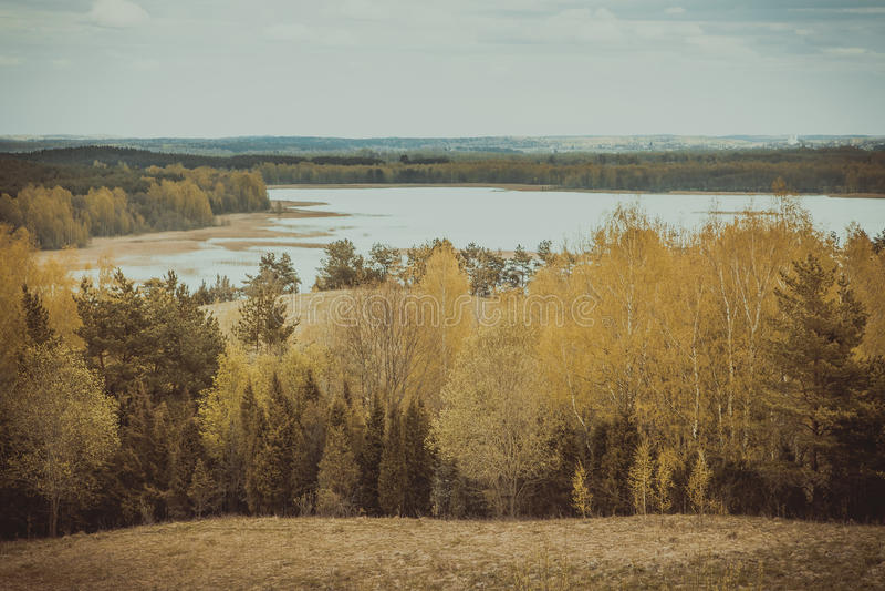 湖的全景费用 Braslav 迟来的 免版税库存照片