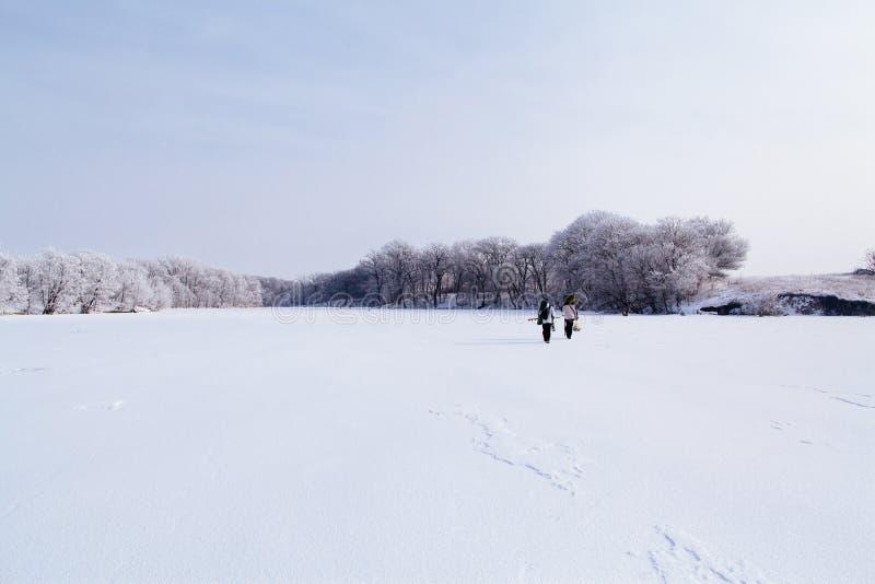 冻湖的冬天渔夫 库存照片