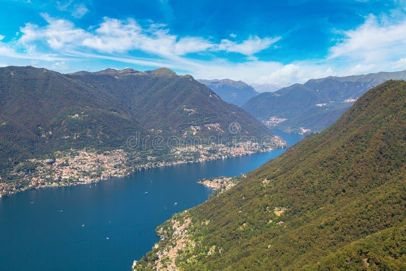 湖科莫全景在意大利 库存照片
