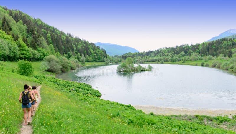 湖边缘的远足者  免版税图库摄影