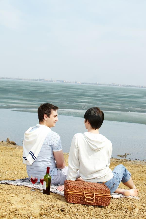 湖边野餐 免版税库存图片