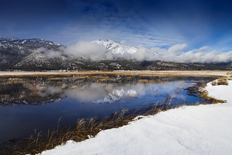 湖银行幻灯片山的, Washoe谷,内华达 库存图片
