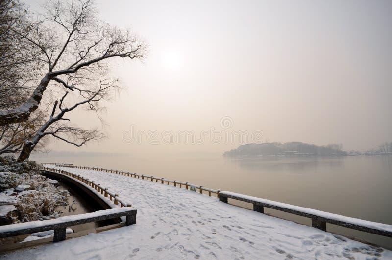 湖雪 库存图片