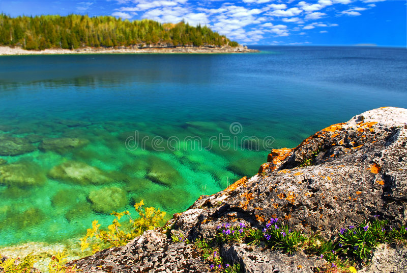 湖风景视图 免版税库存图片