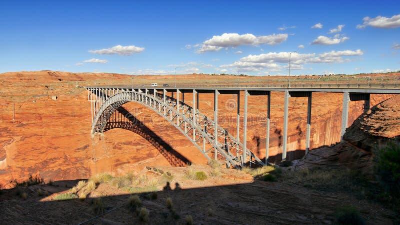 湖鲍威尔在科罗拉多河的水坝桥梁 免版税库存图片