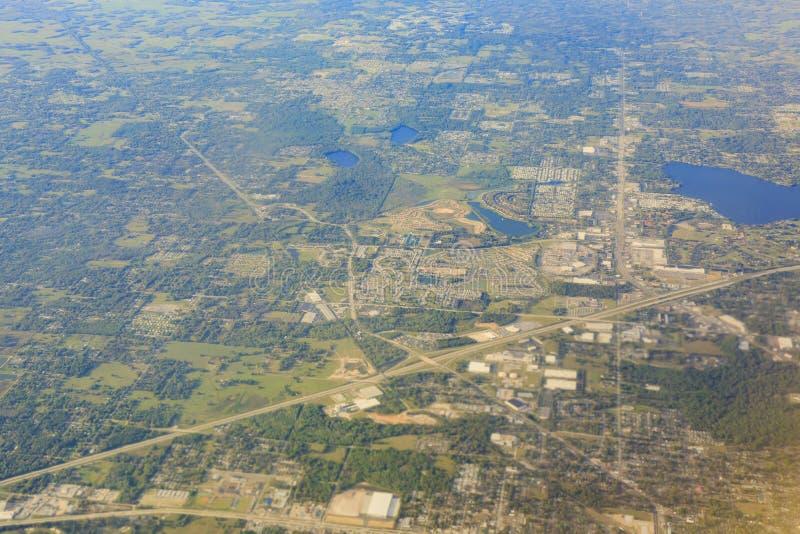湖水地区的鸟瞰图 库存图片