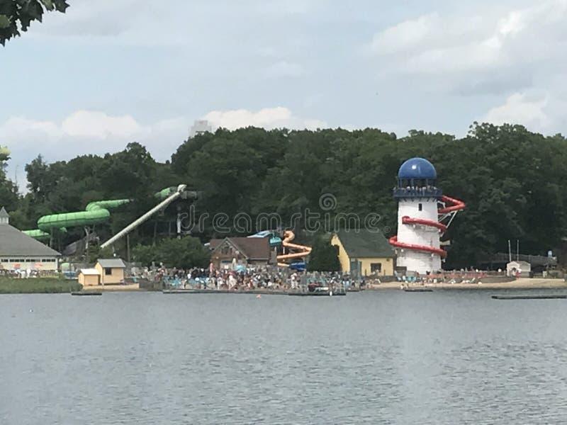 湖Compounce在布里斯托尔,康涅狄格 库存照片