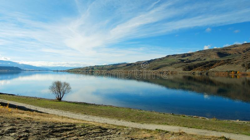 湖Dunstan,新西兰 图库摄影