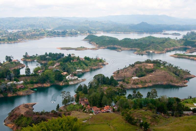 湖Guatape,安蒂奥基亚省,哥伦比亚 免版税库存图片