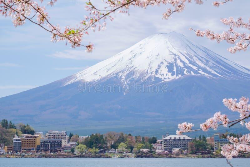 从湖Kawaguchiko的富士山有樱花的在Yamanash 免版税图库摄影