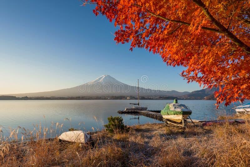 从湖Kawaguchiko的富士山视图秋天颜色的 免版税库存照片