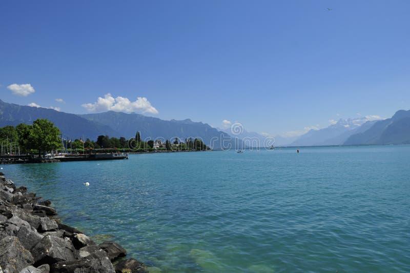 湖leman瑞士 库存图片