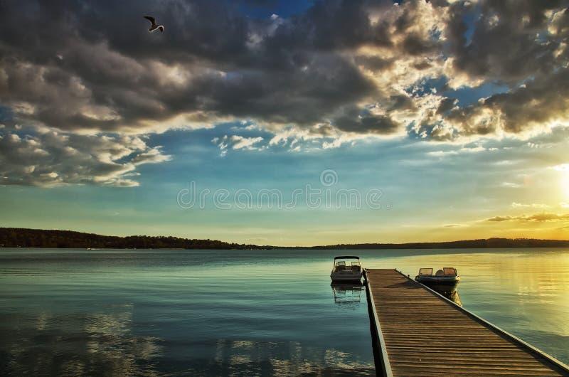 湖Macquarie日落 免版税图库摄影