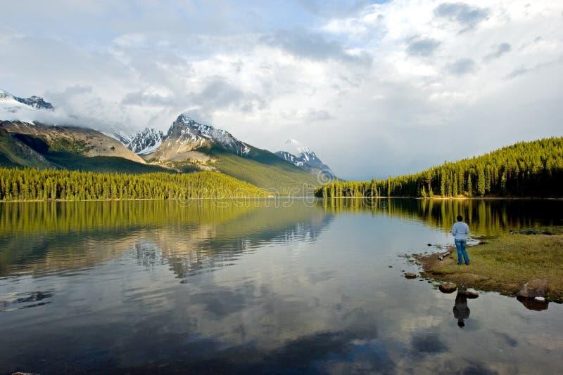 湖maligne 库存图片