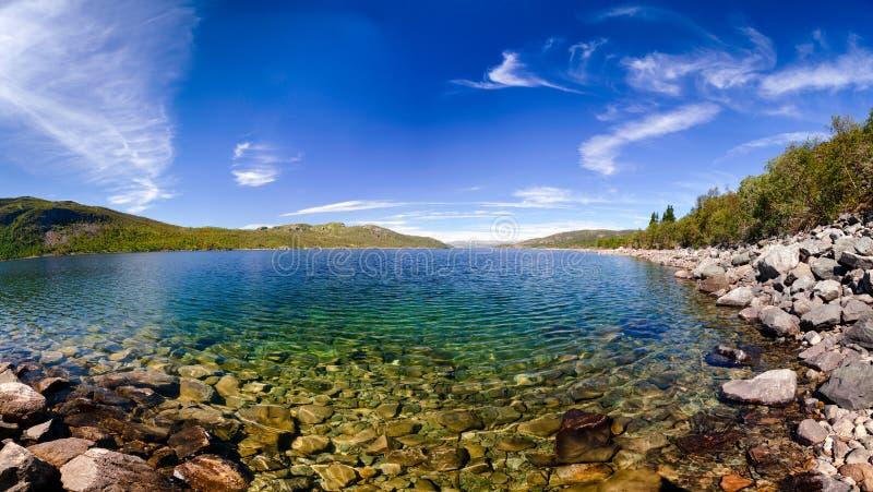 湖Mosvatn泰勒马克郡挪威透明的水  库存图片