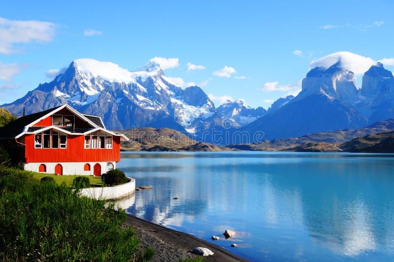 湖Pehoe,托里斯台尔潘恩国家公园,巴塔哥尼亚,智利 库存图片