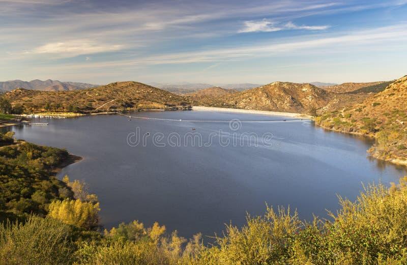 湖Poway风景风景北部的圣地亚哥县 免版税库存照片