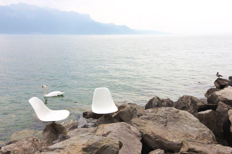 湖vevey和山景在瑞士 库存图片