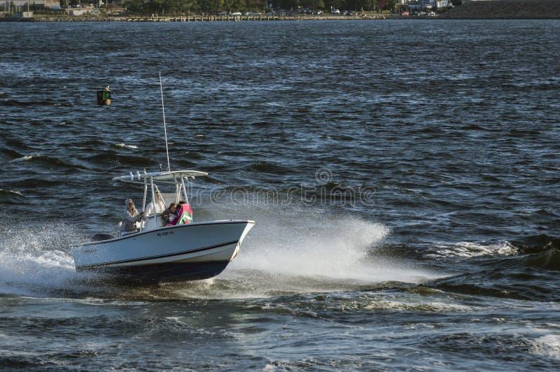 湿和疯狂驾驶通过浪潮起伏的水 免版税库存照片