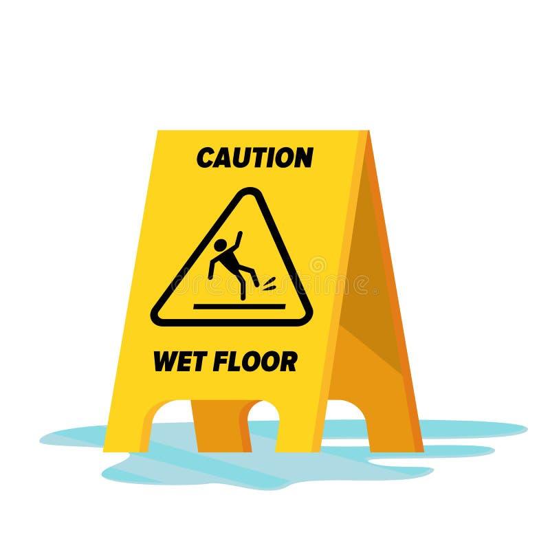 湿地板传染媒介 警告经典黄色的小心湿地板标志 被隔绝的平的例证 皇族释放例证