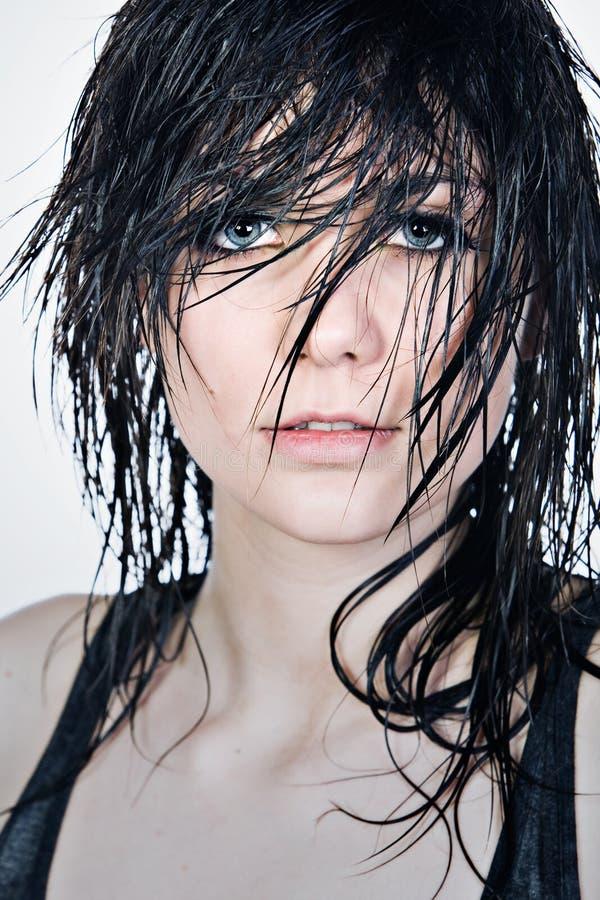 湿头发俏丽的少年 库存图片
