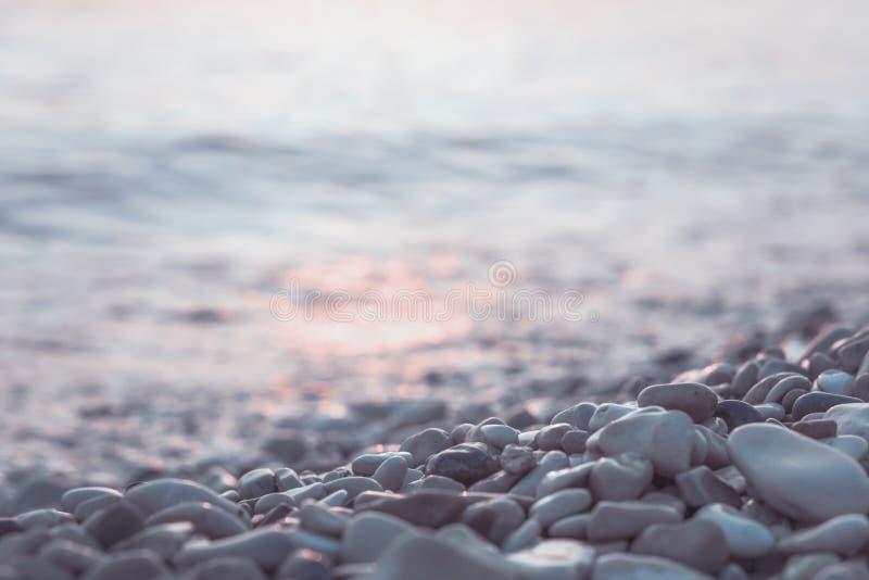 湿小卵石石头和水在早晨海边 图库摄影