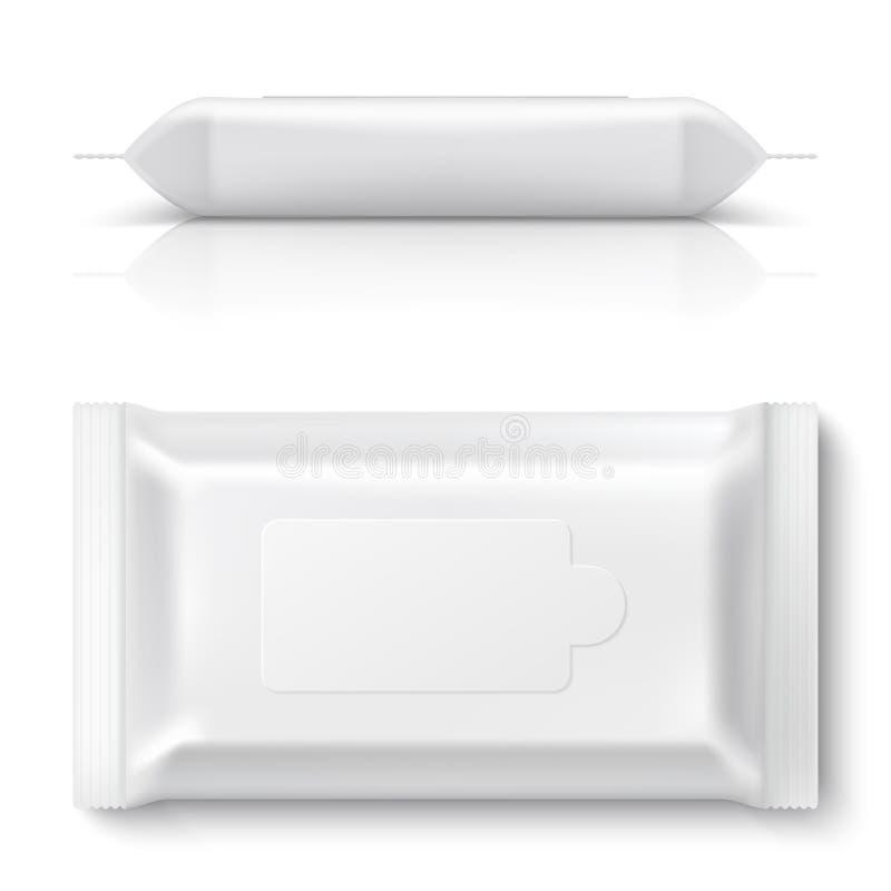 湿抹流动组装 包装3D空的空白的枕头组装大模型塑料组织箱子的现实白色婴孩抹 向量例证