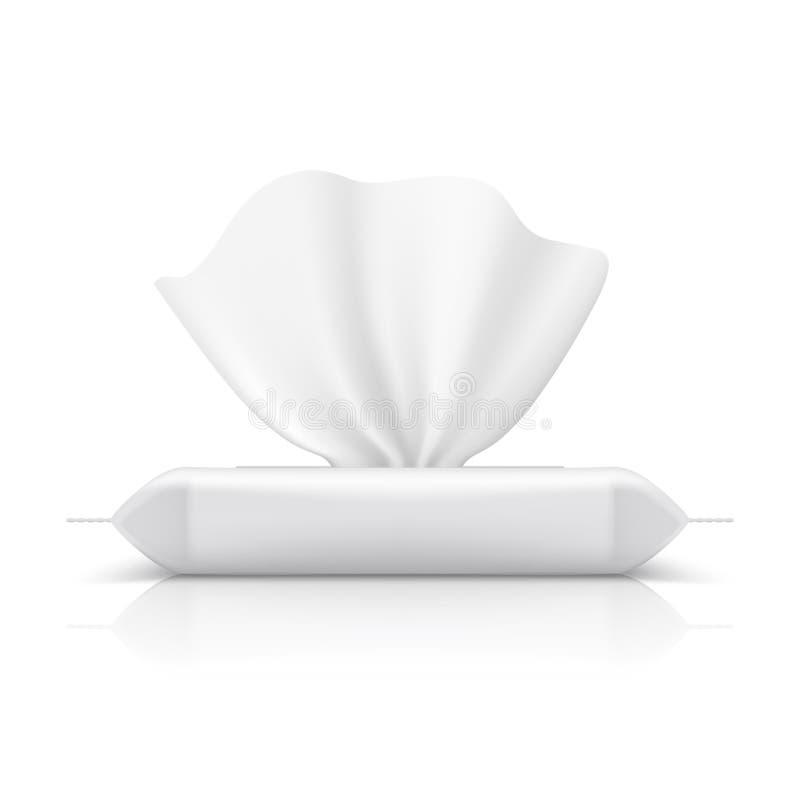 湿抹流动组装 婴孩组织现实包装的空白的构成产品餐巾塑料包裹 流程组装传染媒介 库存例证