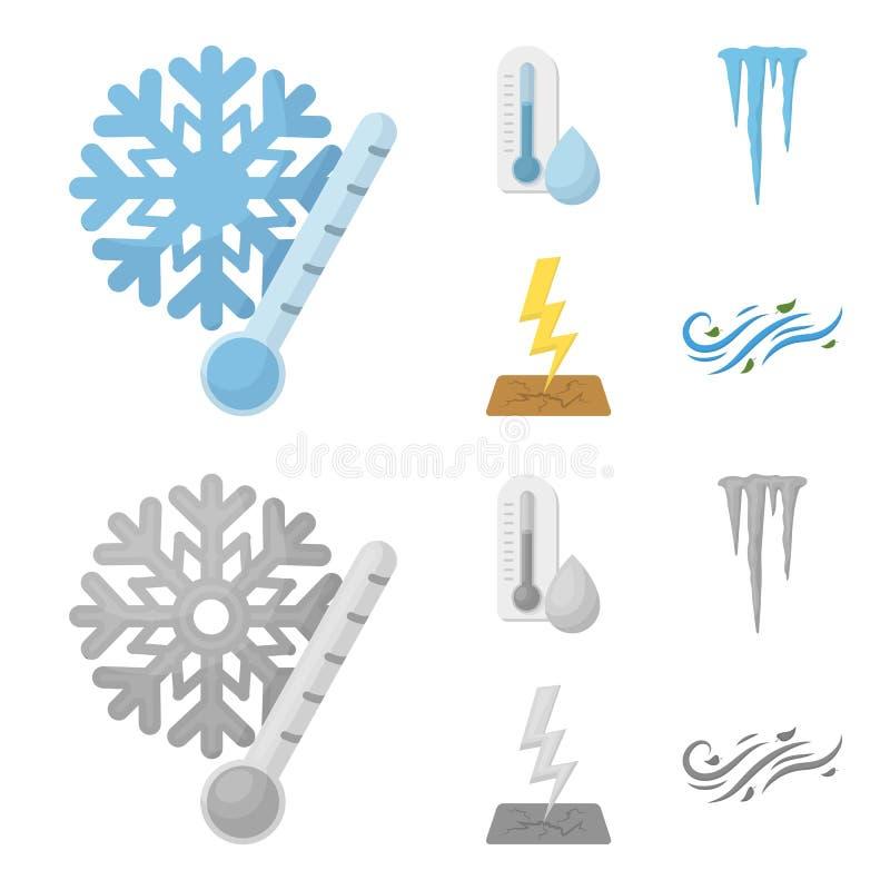 湿气,冰柱,雷电,刮风的天气 在动画片,单色样式传染媒介标志的天气集合汇集象 皇族释放例证