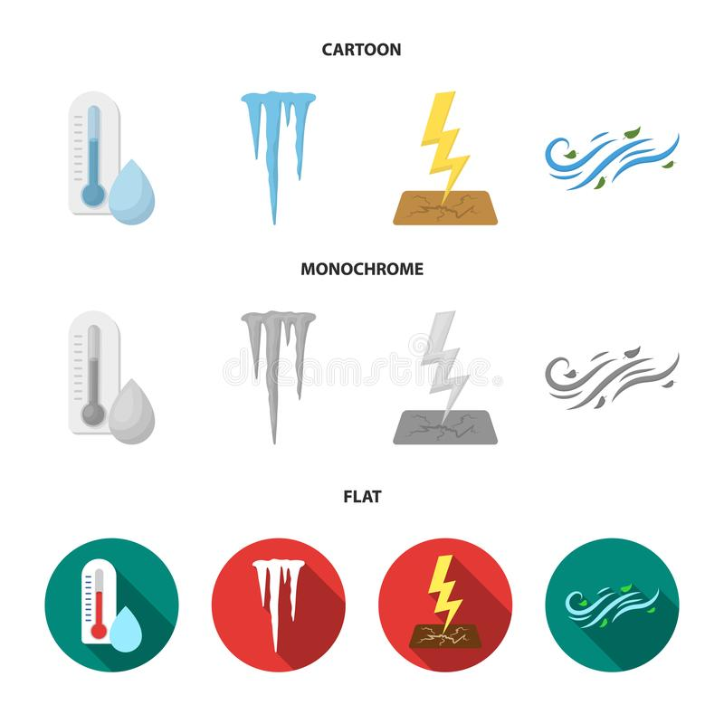 湿气,冰柱,雷电,刮风的天气 在动画片,平,单色样式传染媒介的天气集合汇集象 皇族释放例证