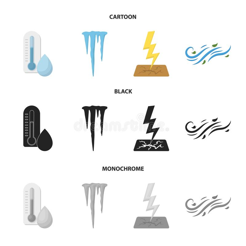 湿气,冰柱,雷电,刮风的天气 在动画片,黑色,单色样式传染媒介的天气集合汇集象 库存例证