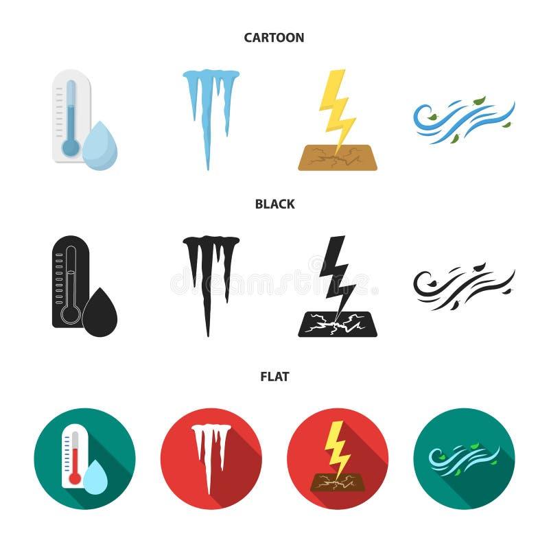 湿气,冰柱,雷电,刮风的天气 在动画片,黑色,平的样式传染媒介标志的天气集合汇集象 向量例证