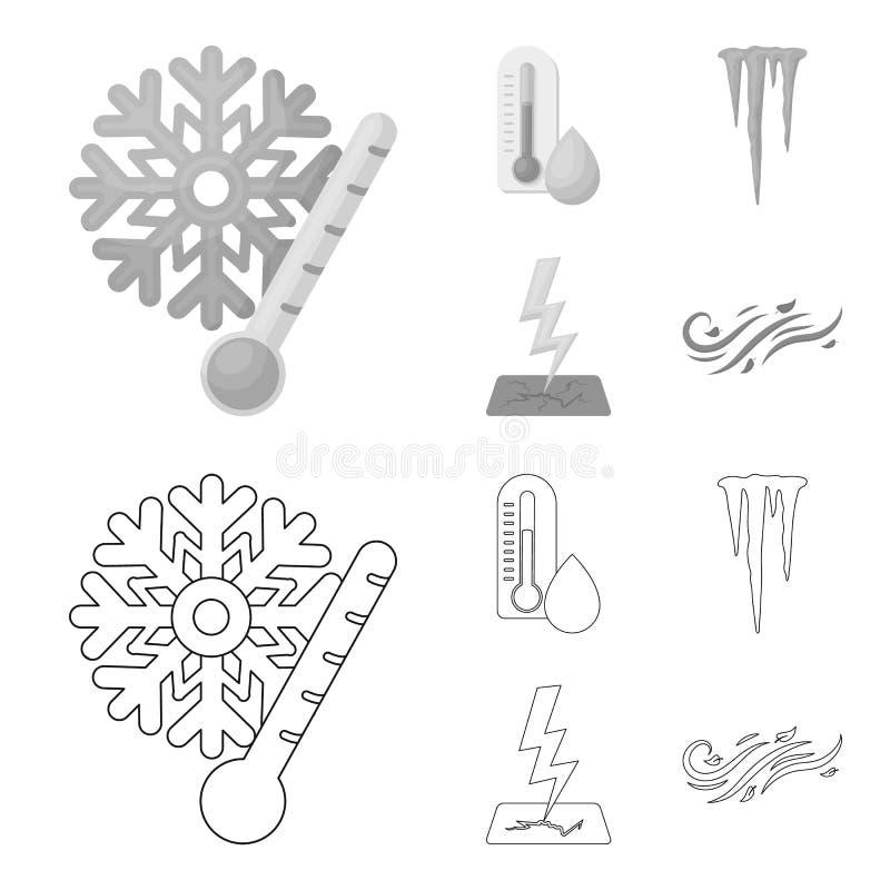 湿气,冰柱,雷电,刮风的天气 在概述,单色样式传染媒介标志的天气集合汇集象 向量例证