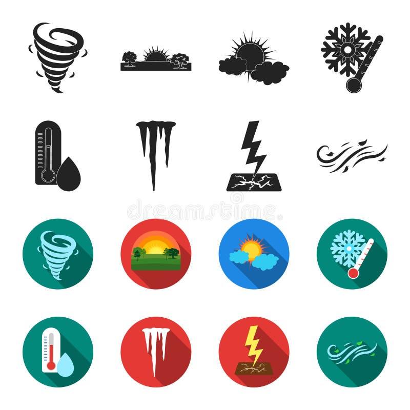 湿气,冰柱,雷电,刮风的天气 在黑色的天气集合汇集象, flet样式传染媒介标志股票 向量例证