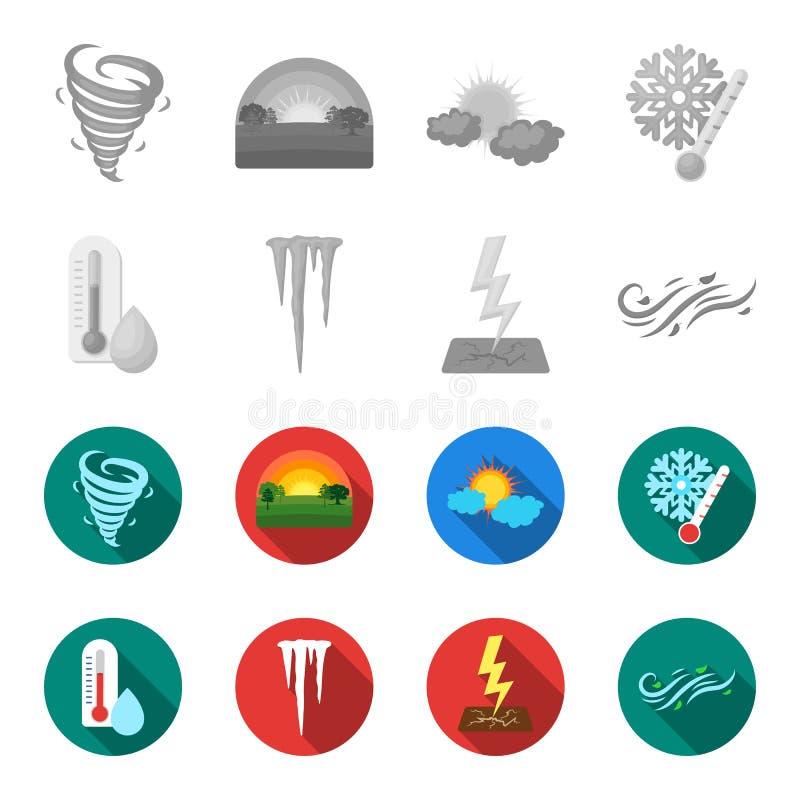 湿气,冰柱,雷电,刮风的天气 天气集合汇集象在单色,平的样式传染媒介标志库存 库存例证
