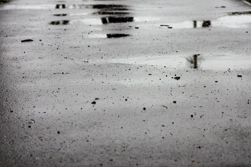 湿沥青路面,在雨以后的路 免版税库存图片