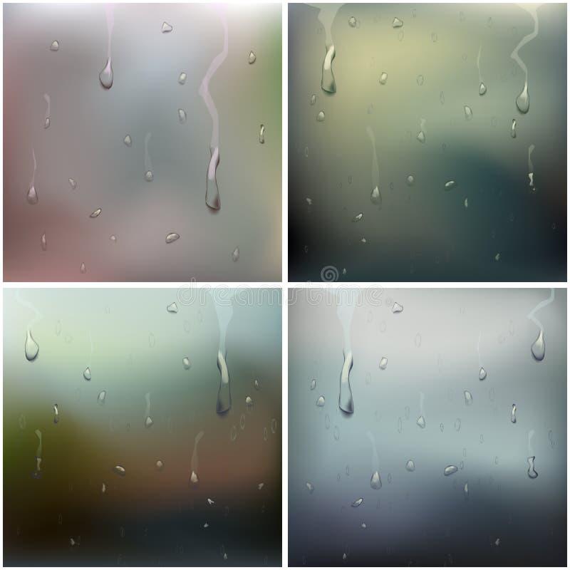 湿玻璃集合传染媒介 水下落 浓缩的纯净的小滴 清楚的蒸气水泡影 下雨下落 蒸汽阵雨 向量例证