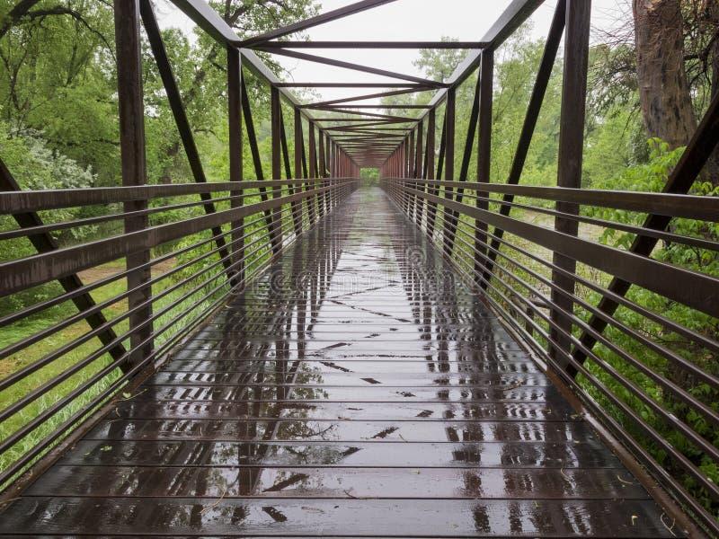 湿自行车线索桥梁 免版税库存照片
