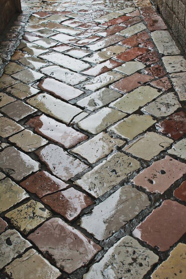湿铺路石街道 库存照片