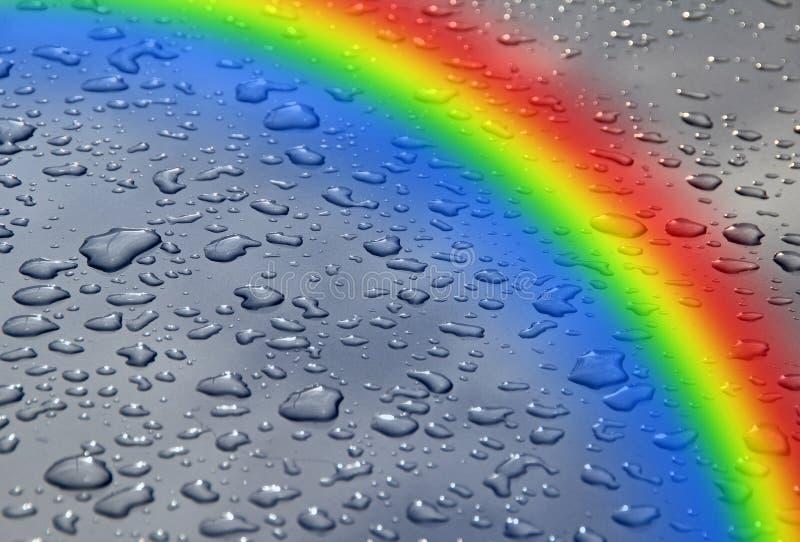 湿雨雨珠在玻璃彩虹背景降露的水上色天气下雨 库存图片
