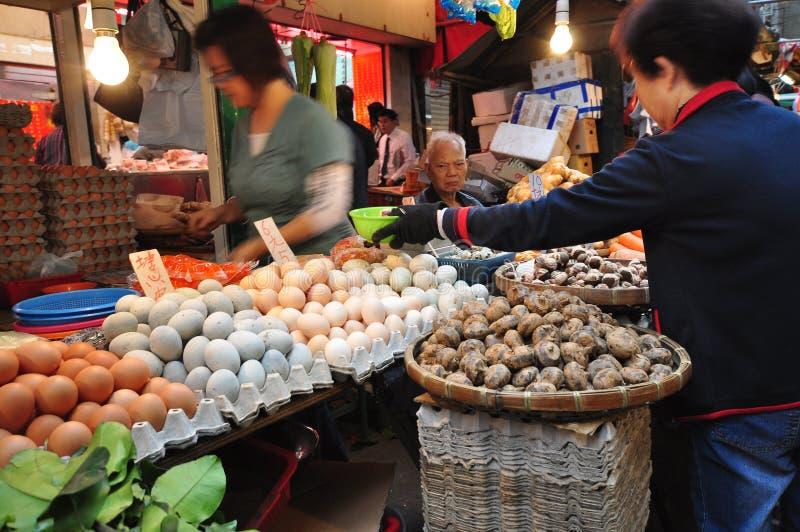 湿香港的市场 库存图片