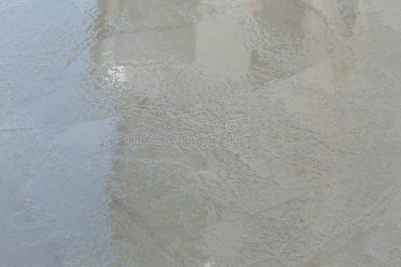湿水泥纹理在楼房建筑站点 免版税库存图片